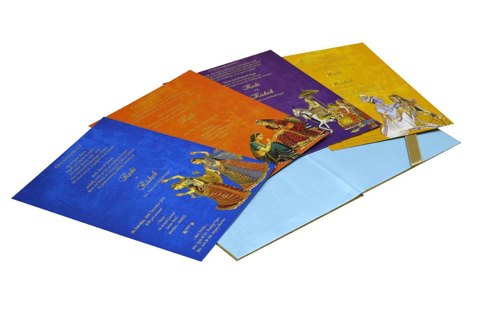 Blue Velvet Radha Krishna Theme Wedding Card Design WD 7767 e