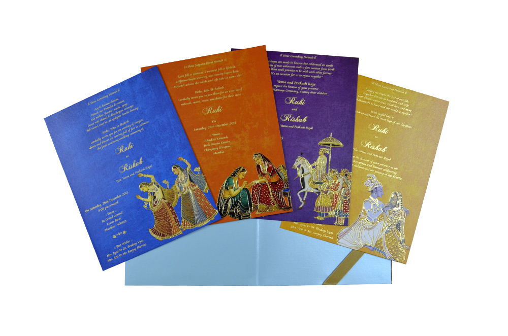 Blue Velvet Radha Krishna Theme Wedding Card Design WD 7767 f