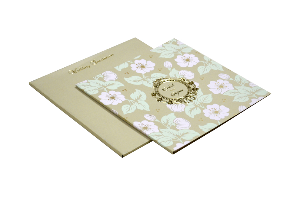 Floral Theme Designer Wedding Card WD 7779