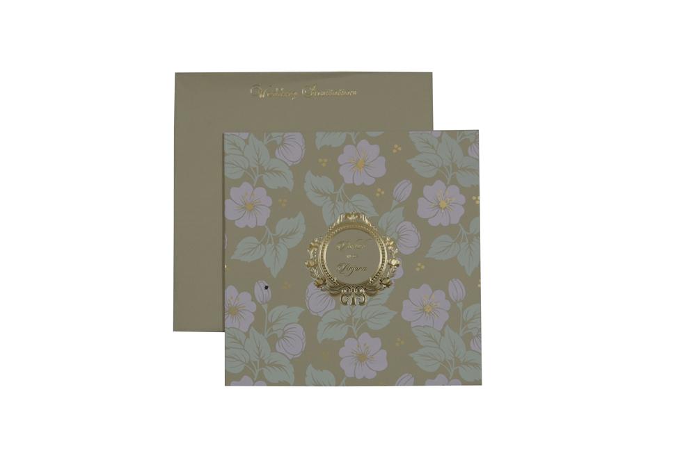 Floral Theme Designer Wedding Card WD 7779 d