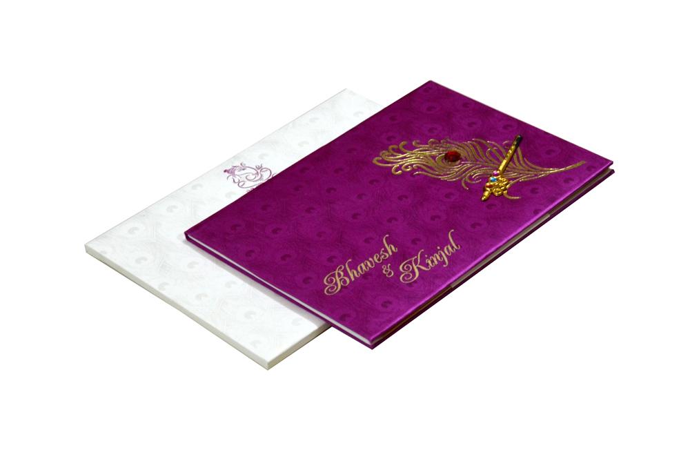 Peacock Theme Satin Wedding Card Design RB 1234 PINK a