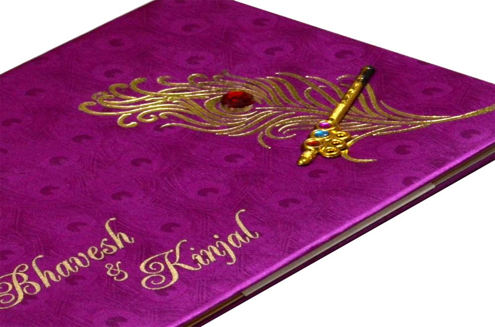 Peacock Theme Satin Wedding Card Design RB 1234 PINK b