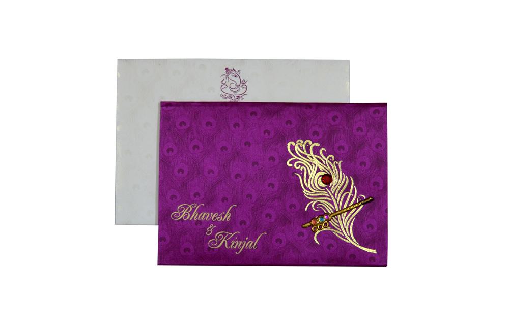 Peacock Theme Satin Wedding Card Design RB 1234 PINK d
