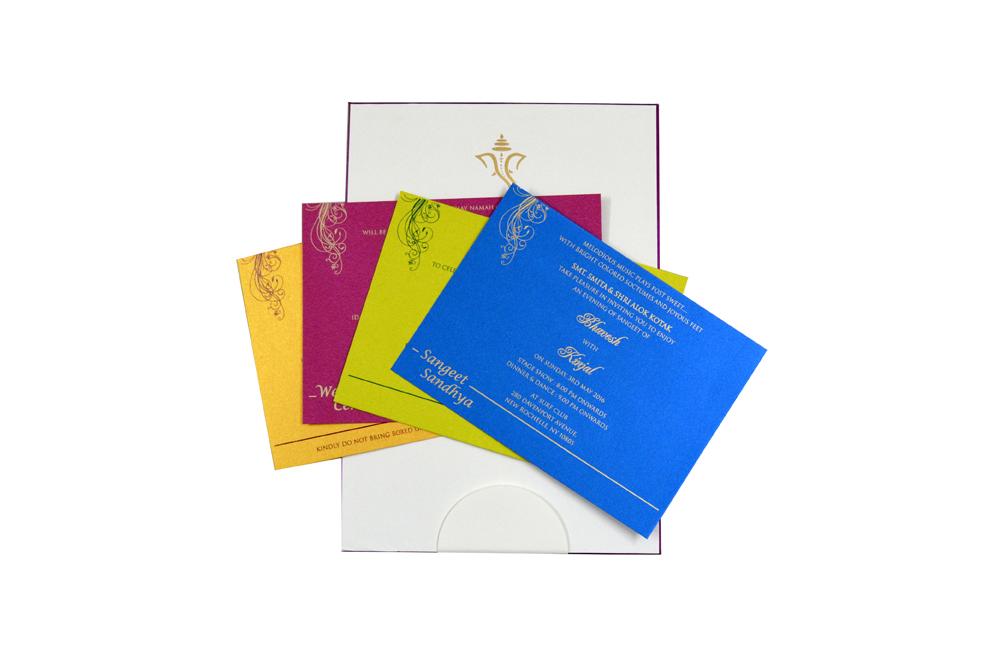 Peacock Theme Satin Wedding Card Design RB 1234 PINK f