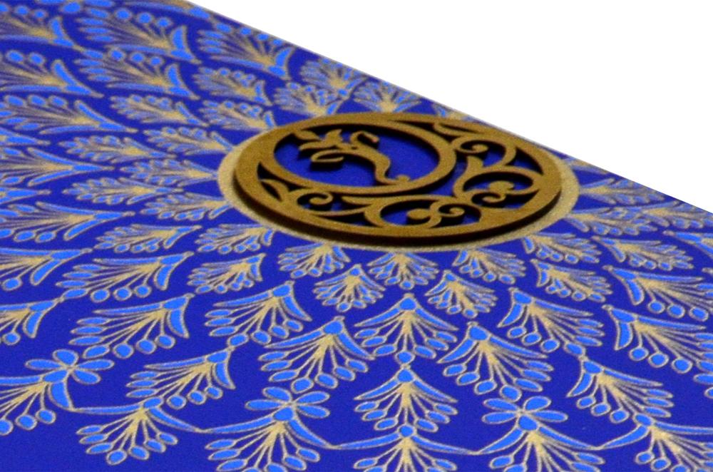 Peacock Feather Theme Wedding Card Design WD 7718 b