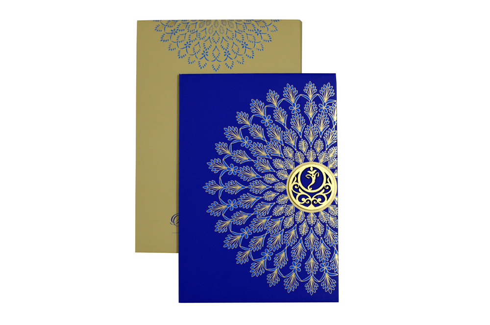 Peacock Feather Theme Wedding Card Design WD 7718 d