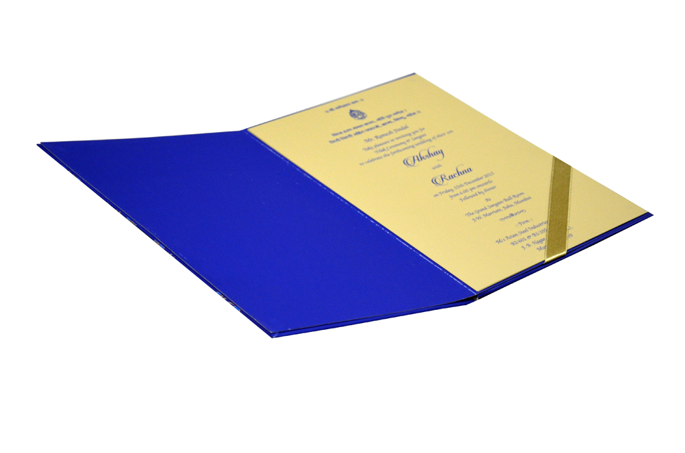 Peacock Feather Theme Wedding Card Design WD 7718 e