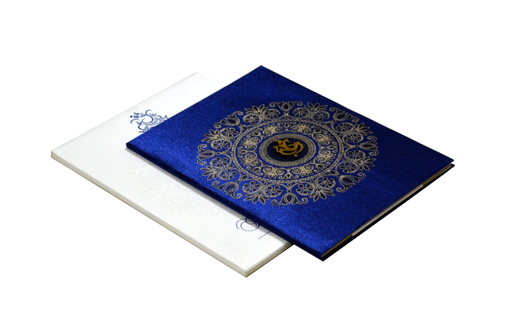 Blue Satin Cloth Hindu Budget Wedding Card RB 1172 BLUE