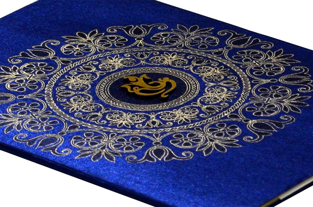 Blue Satin Cloth Hindu Budget Wedding Card RB 1172 BLUE b