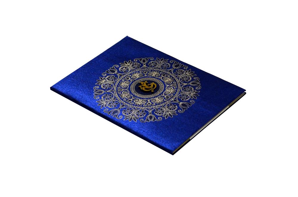 Blue Satin Cloth Hindu Budget Wedding Card RB 1172 BLUE c