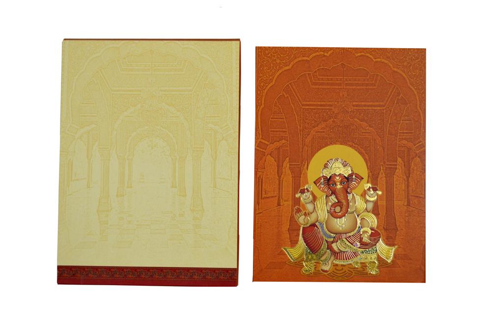 Ganesh Theme Wedding Card AC 602