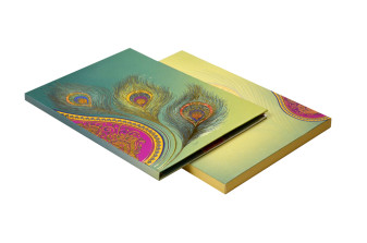 Peacock Feather Theme Wedding Card Design AC 612