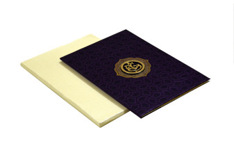 Purple Hindu Satin Cloth Wedding Card AC 680