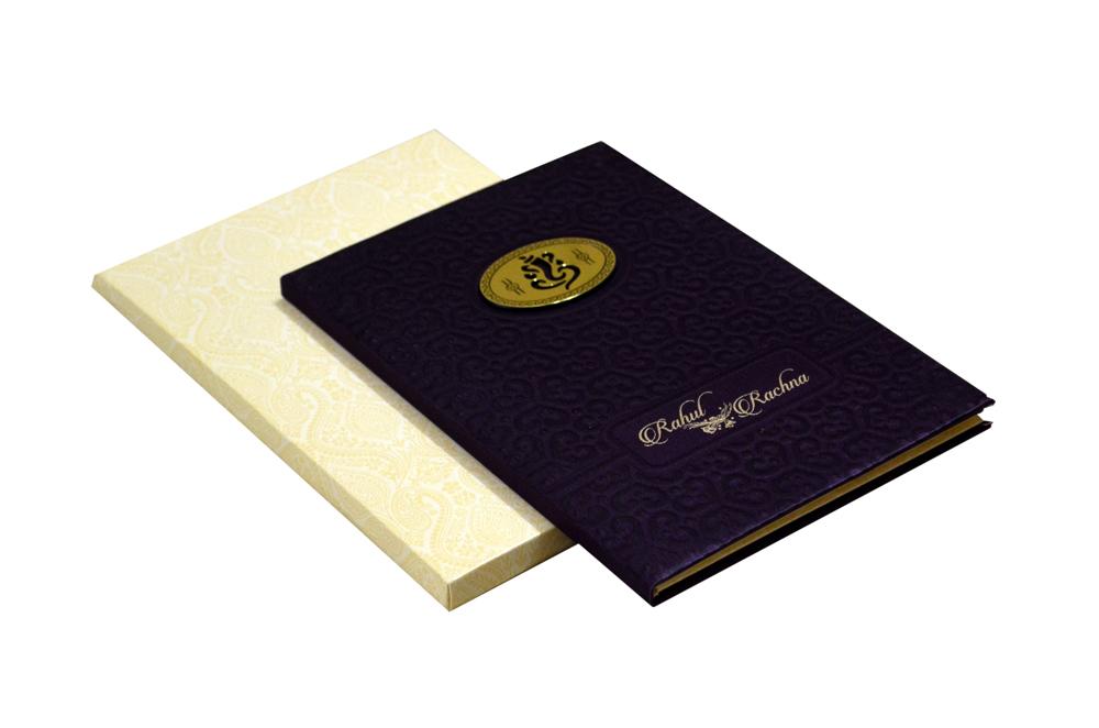 Purple Hindu Satin Cloth Wedding Card AC 683