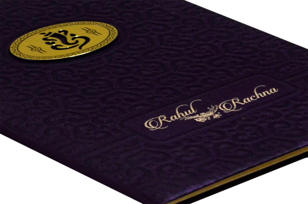 Purple Hindu Satin Cloth Wedding Card AC 683