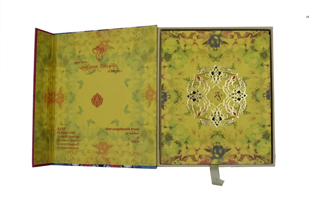 Floral Boxed Wedding Card PDB 203