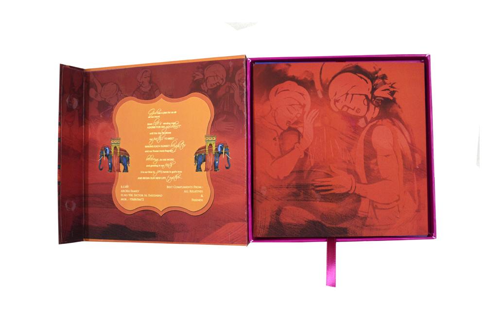 Elephant Theme Boxed Wedding Card PDB 212