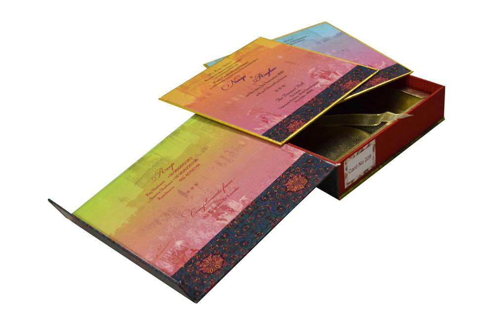Baraat Theme Boxed Wedding Card PDB 228