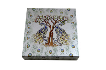 Peacock and Tree Theme Boxed Wedding Card PDB 231