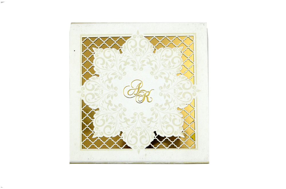White Laser Cut Boxed Wedding Card PDB 234