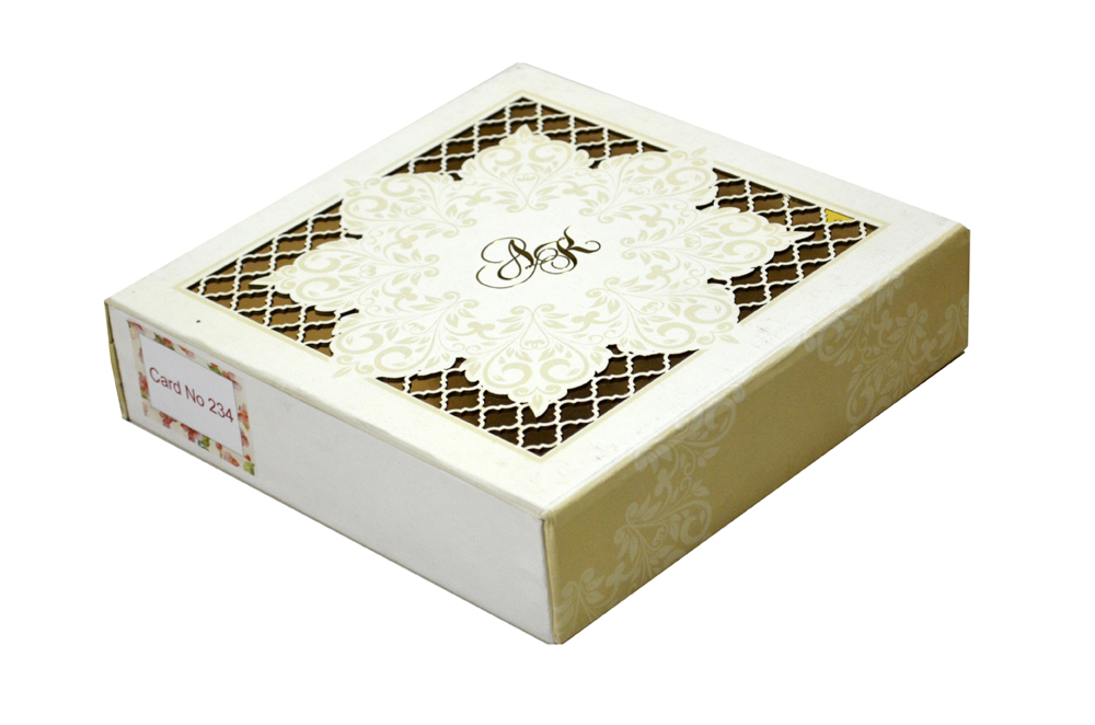 White Laser Cut Boxed Wedding Card PDB 234