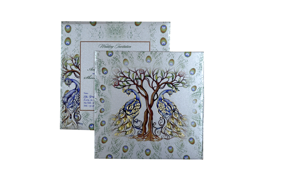 Peacock and Tree Theme Wedding Card Design PDC 231