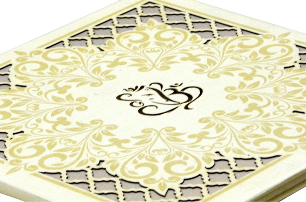 White Laser Cut Wedding Card Design PDC 234