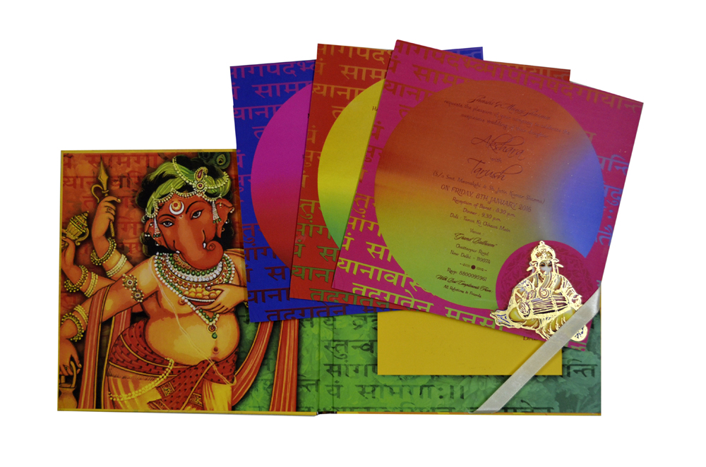 Ganesh Theme Wedding Card PDC 236