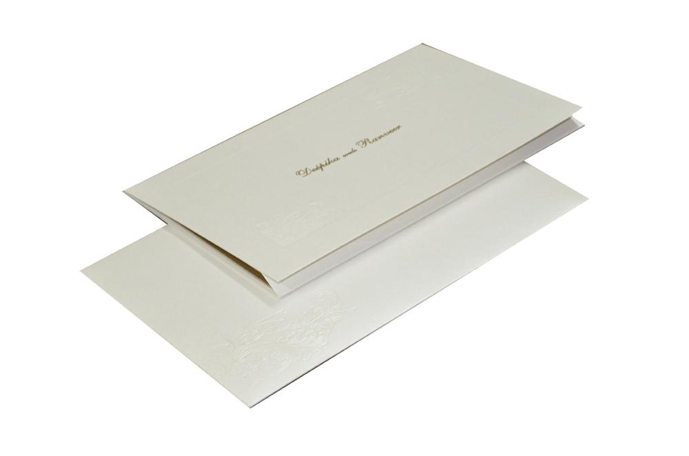 Simple and Elegant White Wedding Card Design GC 1005