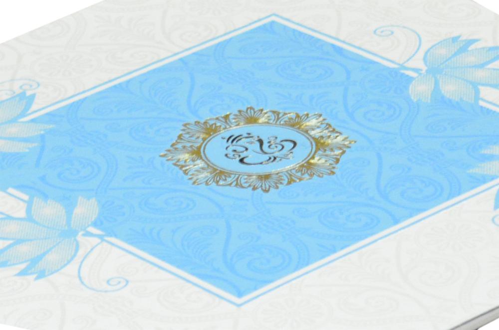 Floral Theme Turqoiuse Wedding Card GC 1009
