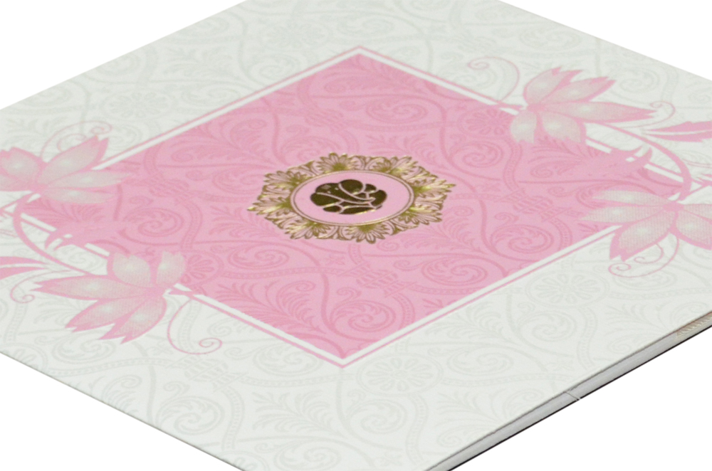 Floral Theme Light Pink Wedding Card GC 1010