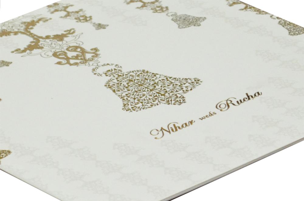 Bell Theme White Wedding Card Design GC 1016