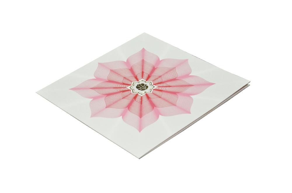 Lotus Theme Designer Wedding Card GC 1017