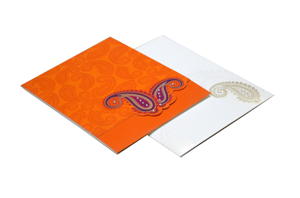 Paisley or Keri Theme Orange Wedding Card Design GC 1021