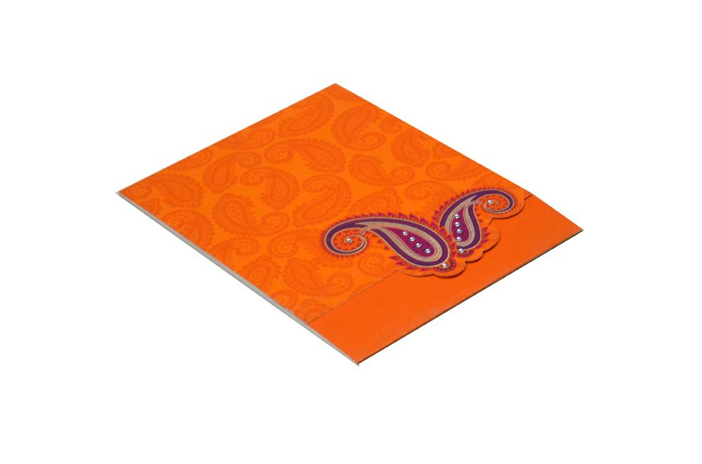 Paisley or Keri Theme Orange Wedding Card Design GC 1021Paisley or Keri Theme Orange Wedding Card Design GC 1021
