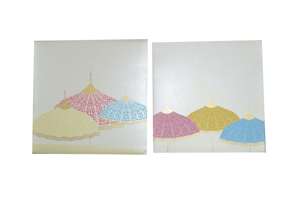 Umbrella Theme Designer Wedding Card GC 1035