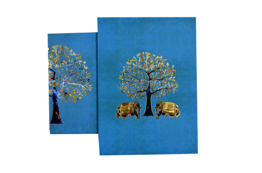 Elephant and Tree Theme Wedding Card Design GC 1052