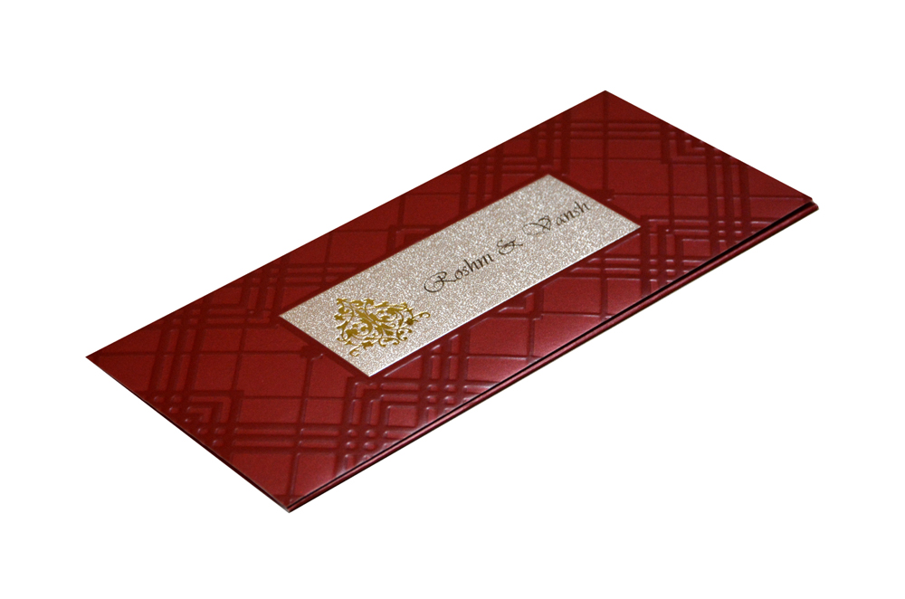 Maroon Muslim Wedding Card GC 1209
