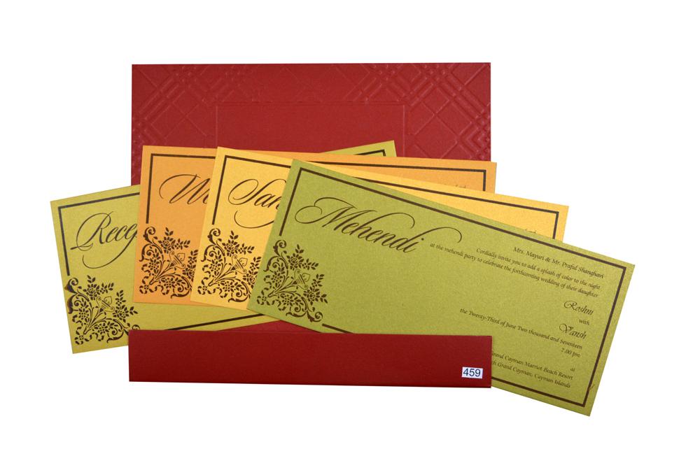 Maroon Muslim Wedding Card GC 1209