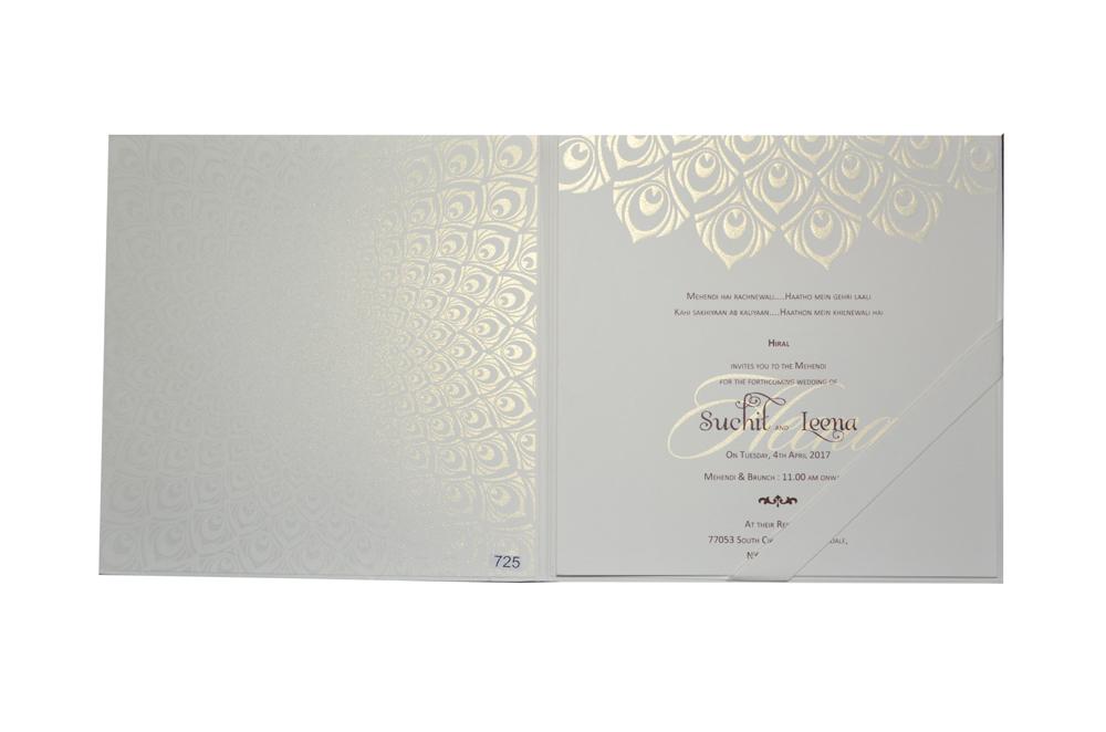 White Peacock Theme Wedding Card Design GC 1213