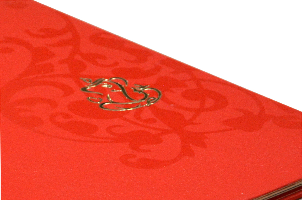 Red Velvet Feel Paper Exclusive Wedding Card GC 1214