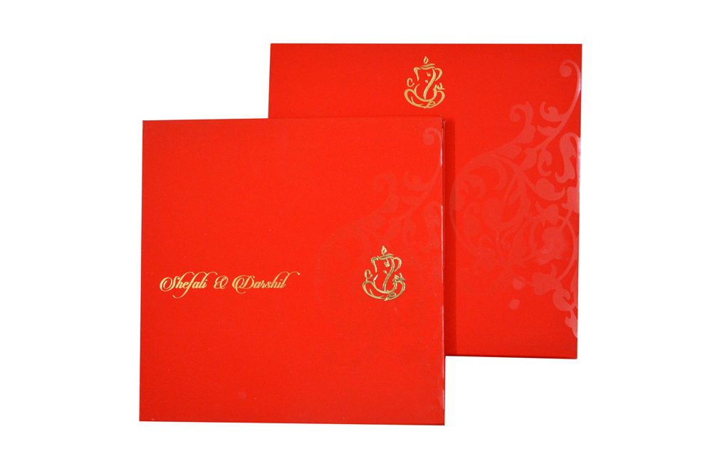 Red Velvet Feel Paper Exclusive Wedding Card GC 1214