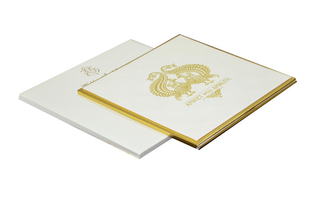 White Peacock Theme Royal Wedding Card MCC 8809