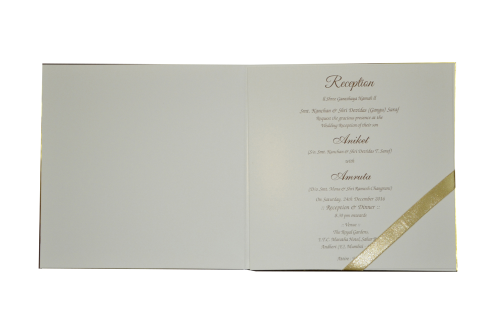 White Peacock Theme Royal Wedding Card MCC 8809