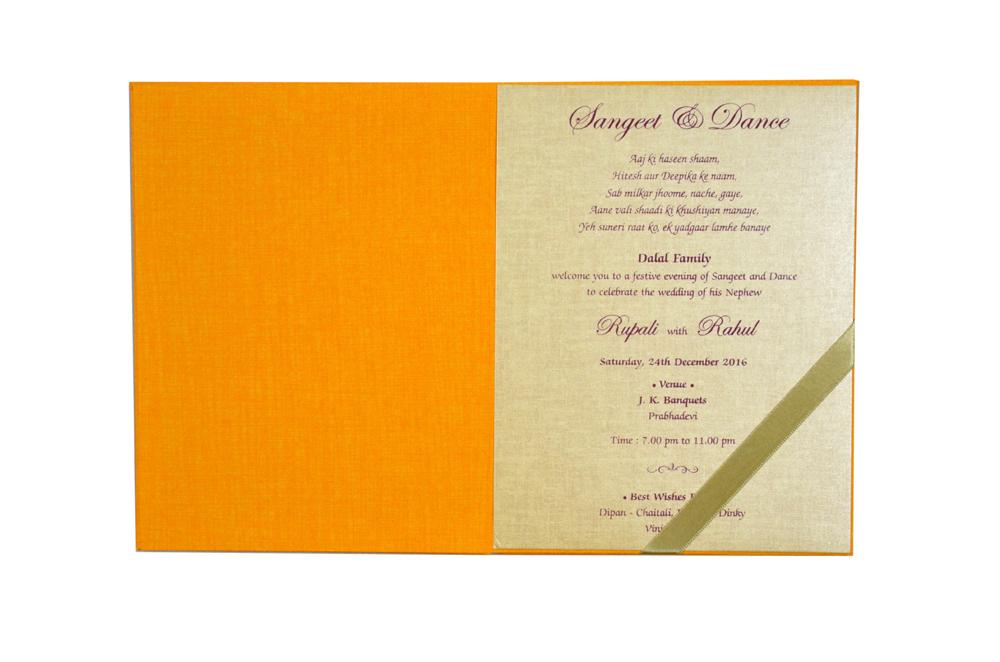 Orange Tree Theme Wedding Card MCC 8813