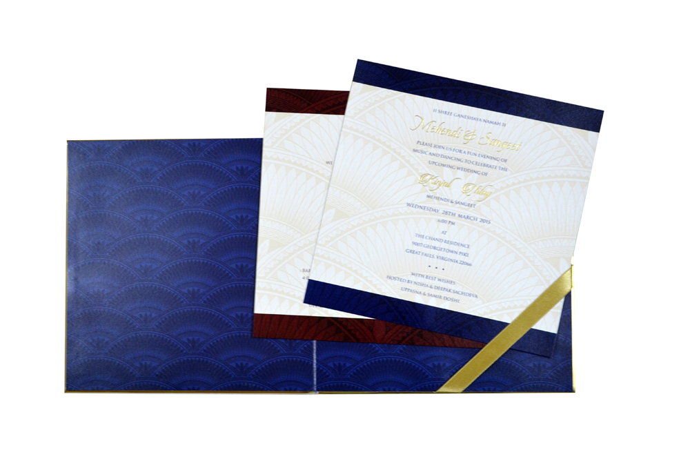 Blue Elephant Theme Designer Wedding Card MCC 8818