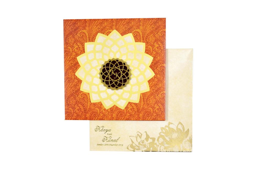 Orange Designer Wedding Card MCC 8825