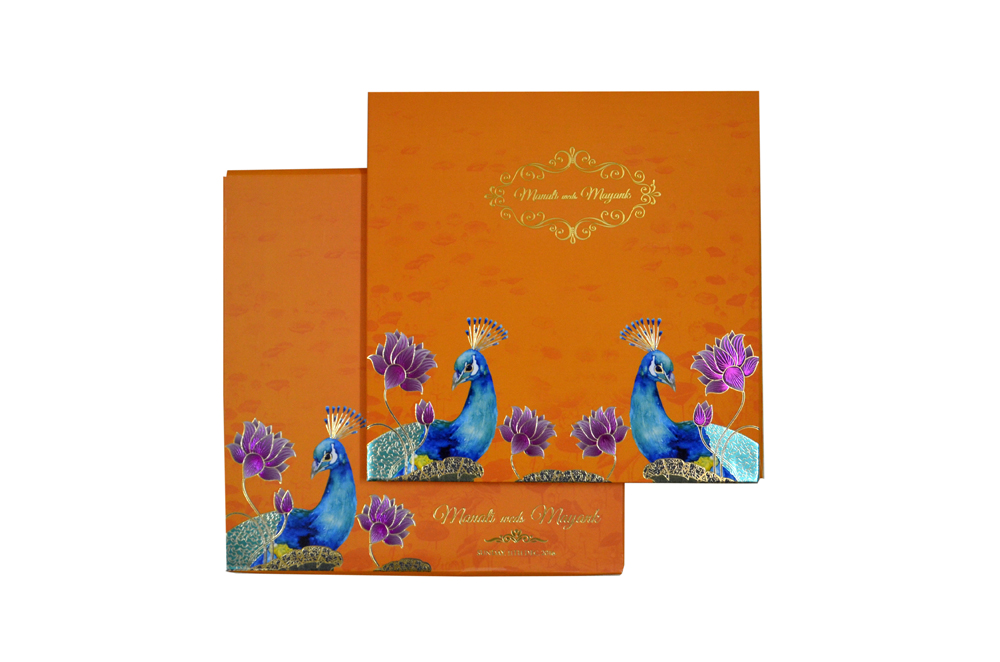 Peacock Theme Exclusive Wedding Card MCC 8842