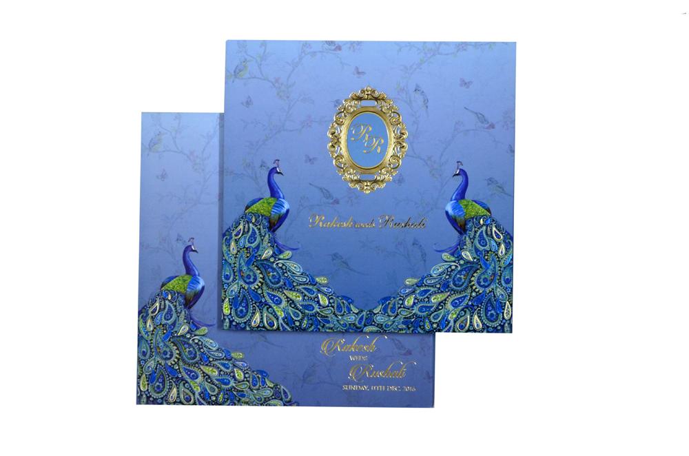 Peacock Theme Exclusive Wedding Card MCC 8844