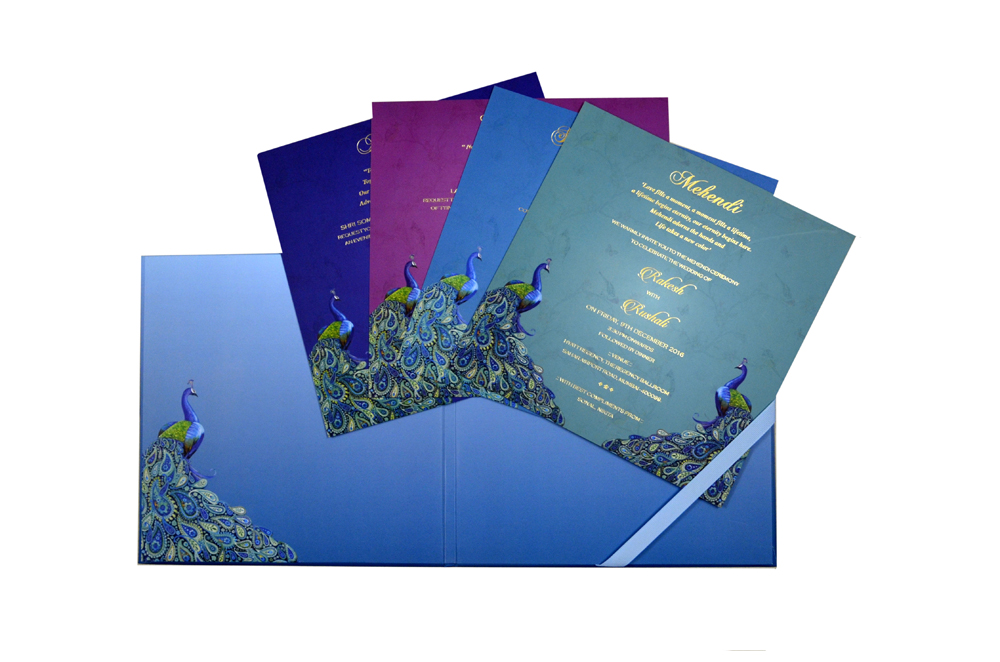 Peacock Theme Exclusive Wedding Card MCC 8844